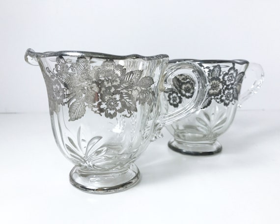 Vintage Fostoria Baroque Cream and Sugar with Silver Overlay of Wild Roses - 1937-1958 - Elegant Glass
