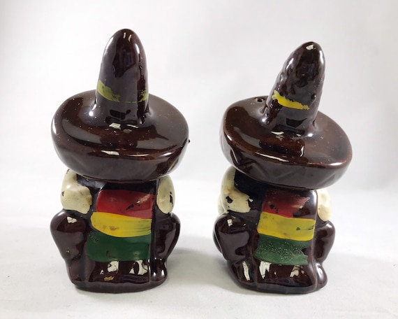 Vintage Redware Mexican Siesta Salt and Pepper - Made in Japan Novelty Shakers