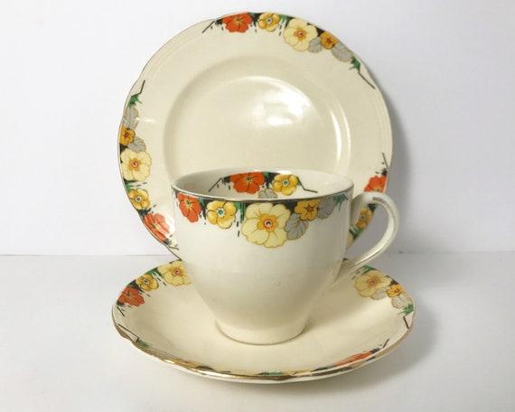 Art Deco Alfred Meakin Raymond Royal Marigold Tea Trio