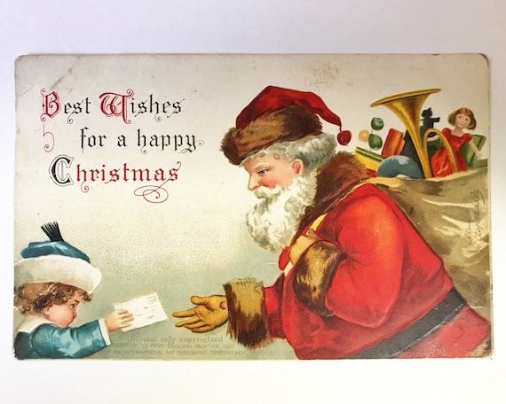 Antique Santa Claus Christmas Postcard - Father Christmas - St. Nick - Signed Ellen H. Clapsaddle