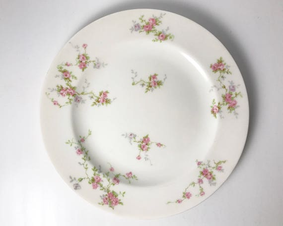 Vintage Theodore Haviland Pink Spray Salad Plate - Made in New York - Pretty Pink Roses