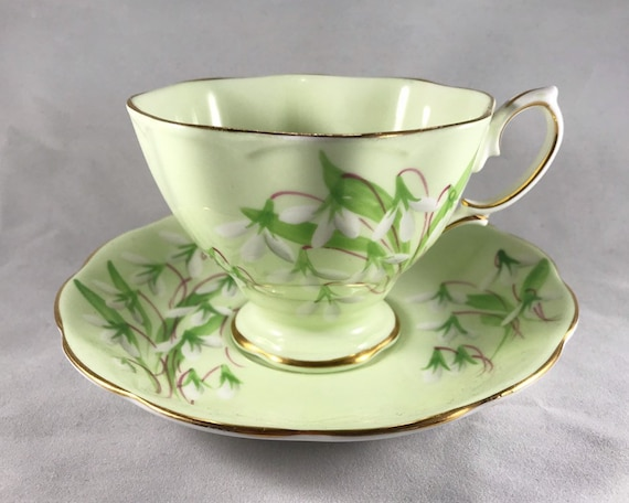 Vintage Royal Albert Laurentian Snowdrop Teacup and Saucer - Pale Green Malvern Shape