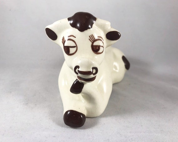 Happy Bull Figurine - Walker-Renaker California Pottery - Mid Century Kitsch
