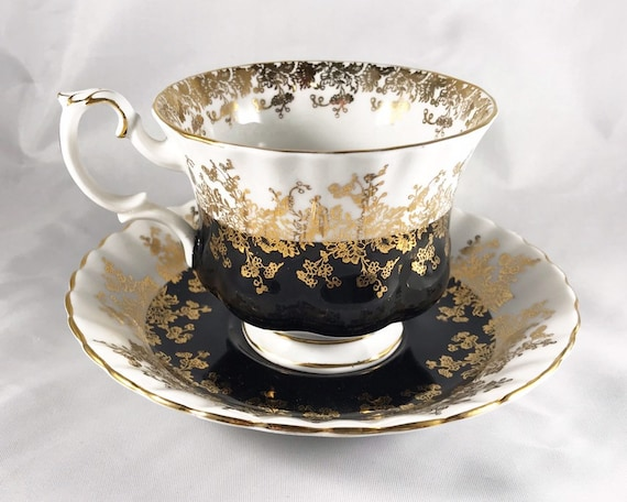 "Vintage Royal Albert ""Regal Series"" Black and White & Gold Teacup and Saucer"