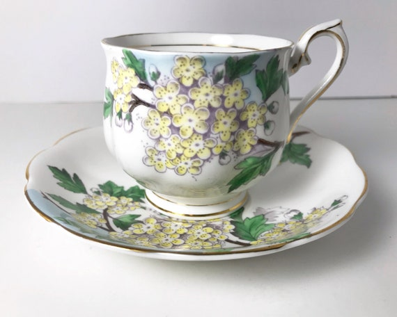 Vintage Royal Albert Teacup and Saucer - Flower of the Month Series - Hawthorn - Hampton Shape Cup