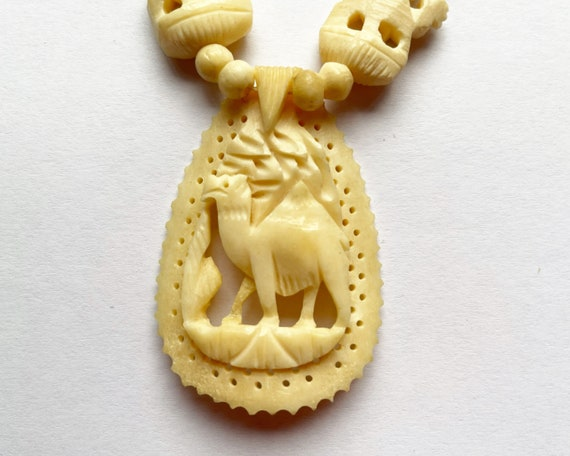 Vintage Chinese Carved Bone Bead Dromedary Camel Necklace