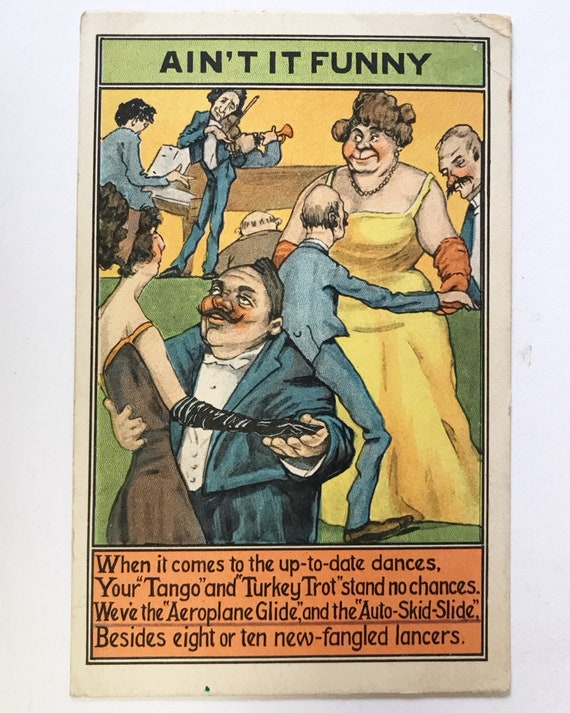 "Antique Postcard - ""Ain't It Funny"" Humorous Dance Post Card with Mismatched Couples"