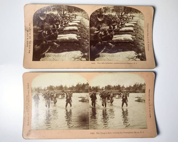 Antique B. W. Kilburn Stereoview - Set of 2 - The Philippine-American War - Stereo Cards - James M. Davis - 1899 and 1900 - Military History