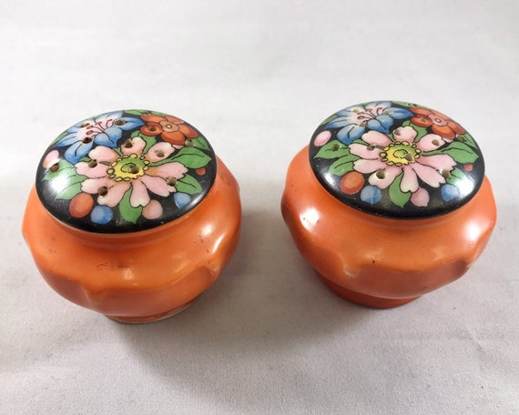 Vintage Orange Salt and Pepper Shakers with Flowers - Made in Japan