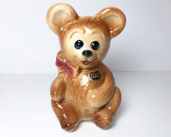 Royal Copley Teddy Bear Planter with Original Foil Sticker - Spaulding China of Ohio