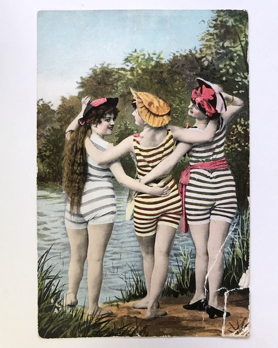 Antique Postcard - Three Beautiful Bathing Beauties - Taylor, Pratt & Co. Post Card