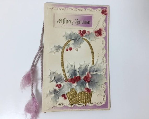 Small Antique Edwardian Christmas Greeting Card - Embossed & Die Cut with Silk Cord and Glitter Holly Leaves - Poem by Clifton Bingham