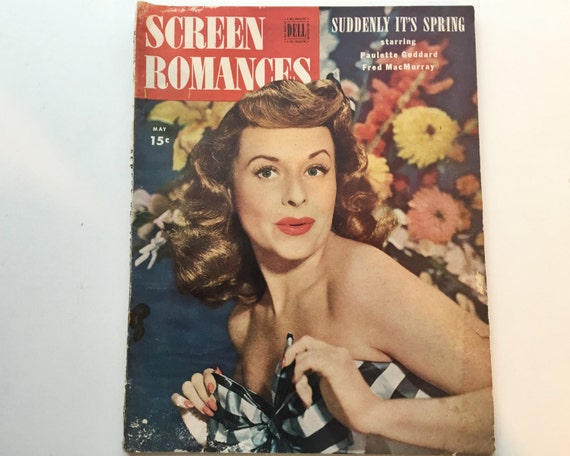 Screen Romances Magazine May 1947 - Cover Paulette Goddard - Vintage Movie Magazine - Inside Anne Baxter & Bob Hope