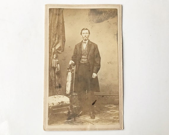 Antique Carte de Visite Civil War Era CDV Photograph of Victorian Man with Revenue Stamp 2c, Albany, New York