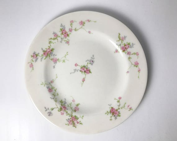 Vintage Theodore Haviland Pink Spray Bread and Butter Plate - Made in New York - Pretty Pink Roses