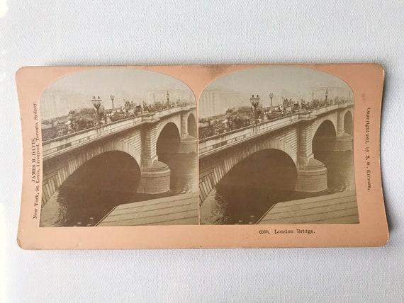 Antique B. W. Kilburn Sepia Stereoview - London Bridge, James M. Davis, Copyright 1891