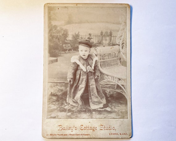 Antique Cabinet Card of Toddler from Lyons, Kansas
