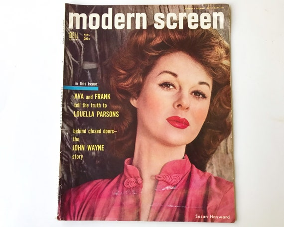 Modern Screen Magazine Feb 1954 - Cover Susan Hayward Inside John Wayne, Ava Gardner, Virginia Mayo, Lucille Ball