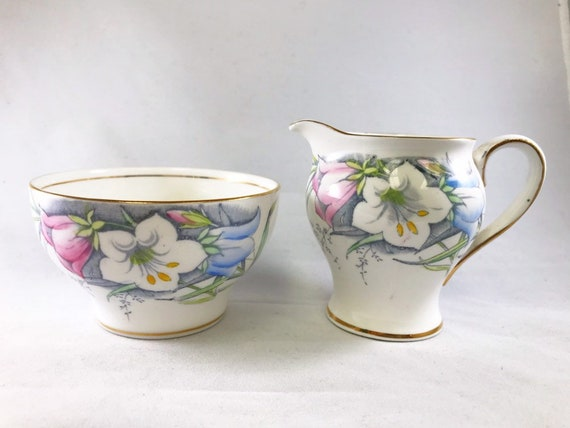 "Vintage Shore & Coggins ""Bell"" China Creamer and Sugar Bowl with Pretty Campanula ""Bell Flower"" Pattern"