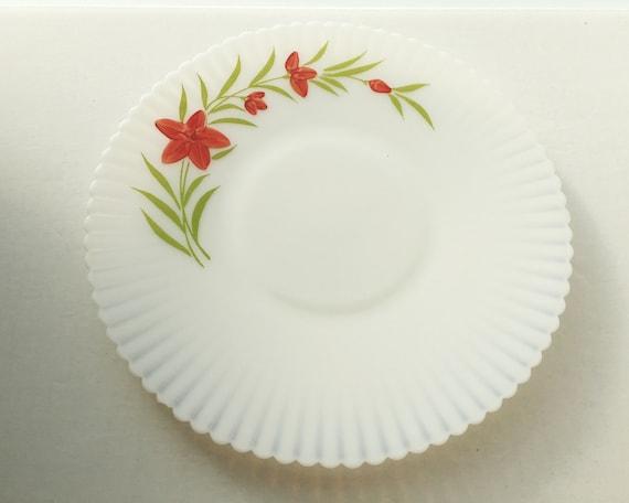 Florette Petalware Cake Plate by Macbeth Evans - Monax White Opal Vintage Depression Glass