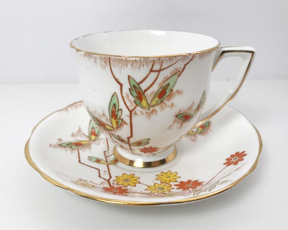 Vintage Gladstone China English Bone China Teacup Saucer - Art Deco Style Butterflies - Orange and Yellow Floral with Gold Trim