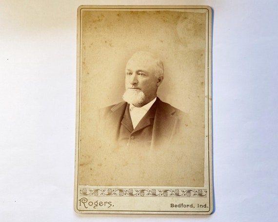 Antique Cabinet Card of Portrait of Older Man with Mole, Bedford, Indiana
