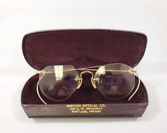 Vintage American Optical Rimless Eyeglasses with Original Case - AO 1/20 12K GF Vul Vue - Curved Temples