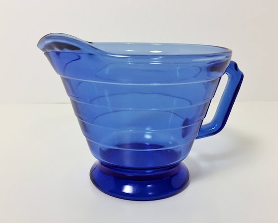 Vintage Hazel Atlas Moderntone Creamer - Handsome Cobalt Blue Depression Glass