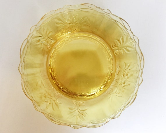 Vintage Fostoria Baroque Luncheon Plates - SOLD SINGLY - Topaz Yellow Elegant Glass Plates - Beautiful Color 1937-1943