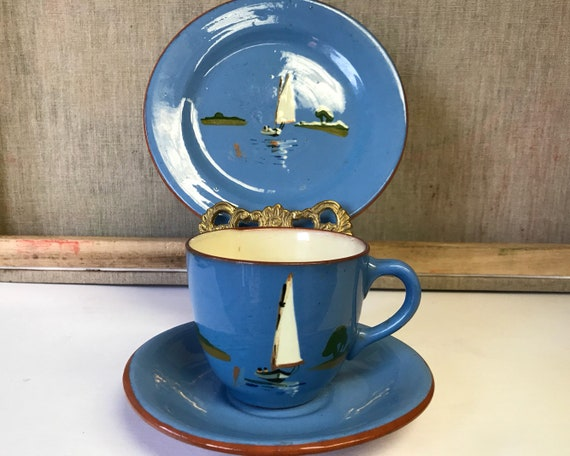 Torquay Pottery Teacup, Saucer, and Plate Trio - Dartmouth Potteries, Red Devon Clay - Hand Painted Sailboat Scene on Blue