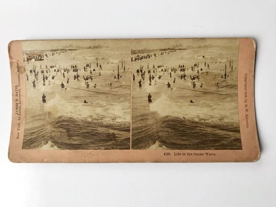 Antique B. W. Kilburn Stereoview - Life in the Ocean Waves - Swimming in the Sea - James M. Davis - Copyright 1888