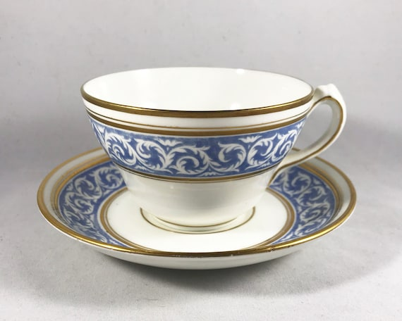 "Thomas Morris Crown Chelsea ""Scroll"" Pattern Teacup and Saucer"