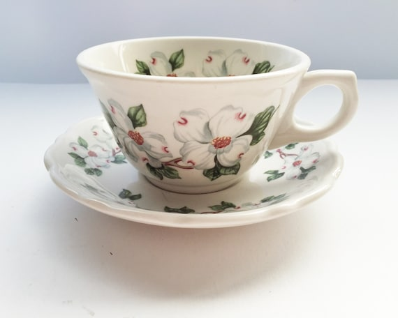 Vintage Syracuse China Restaurant Ware - Dogwood Pattern Teacup and Saucer