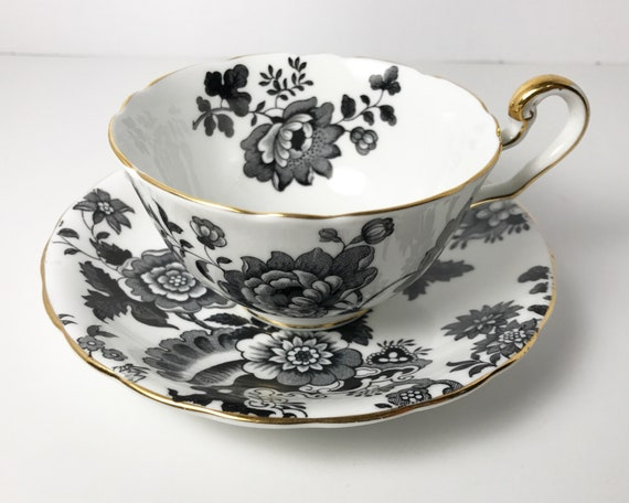 """Vintage Victoria C & E """"Mandarin"""" English Bone China Teacup Saucer - Black and White Floral Pattern - Cartwright and Edwards"""