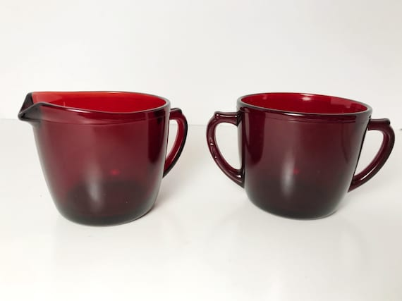 Vintage Anchor Hocking Glass Royal Ruby Creamer and Sugar