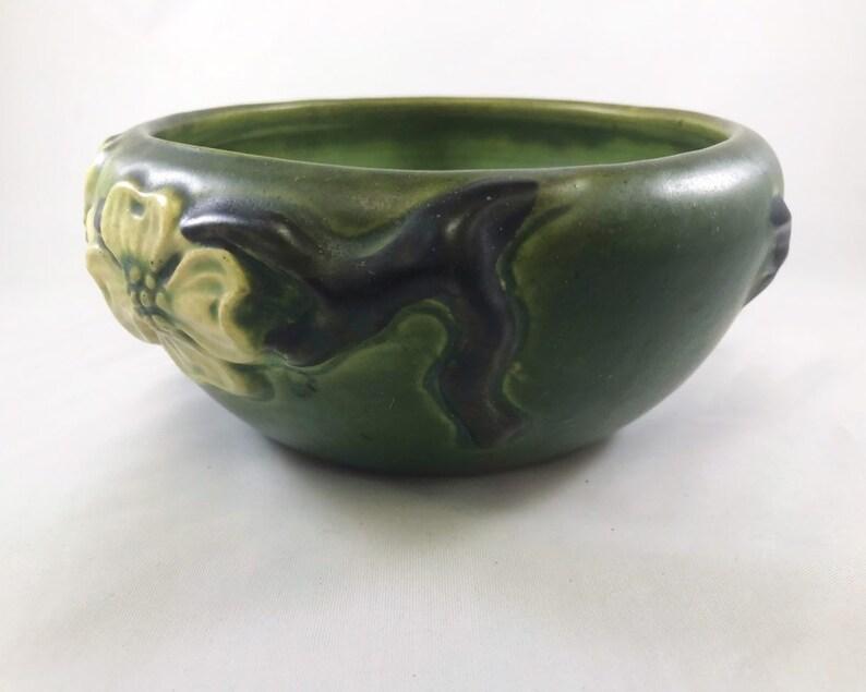Vintage Roseville Dogwood Bowl Smooth Green Art Pottery