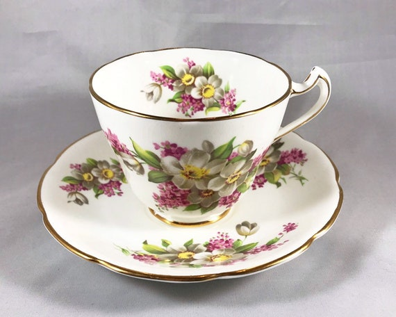 Vintage Trentham Bone China Floral Teacup and Saucer - Made in England - Teatime