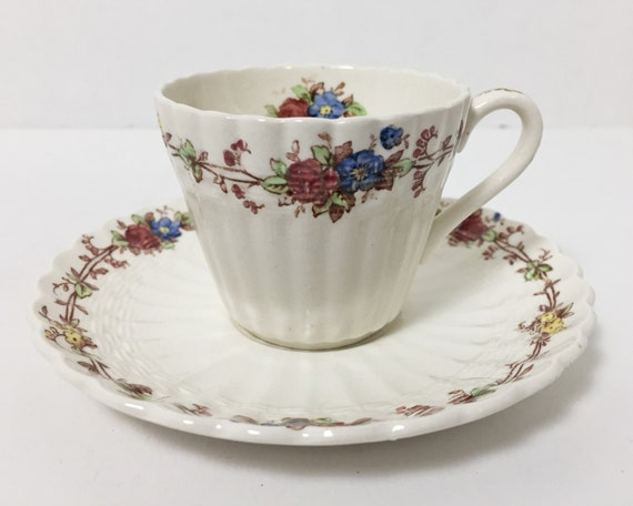 Vintage Copeland Spode Hazel Dell Demitasse and Saucer - Off White Flat Demitasse with Floral Transferware Design - S 930
