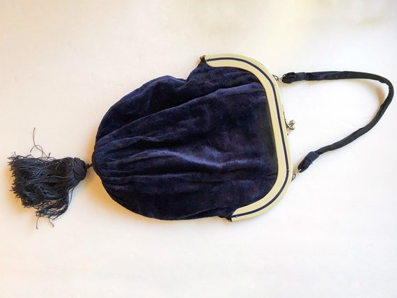 Vintage 1920s Blue Velvet Evening Purse or Clutch - Flapper Era