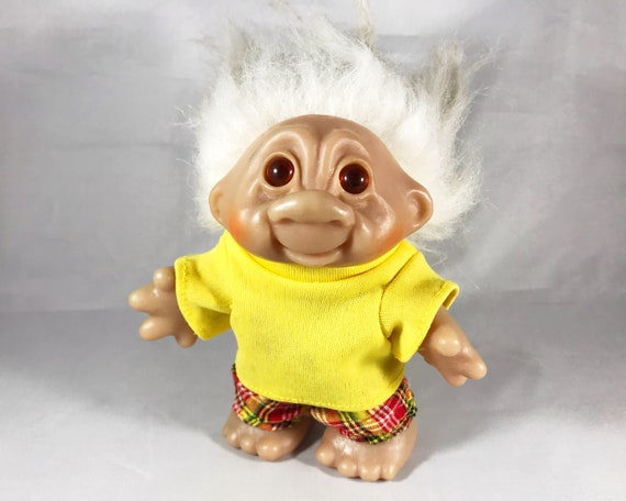 Vintage Big Dam (Norfin) Troll Doll - White Hair and Removable Clothes