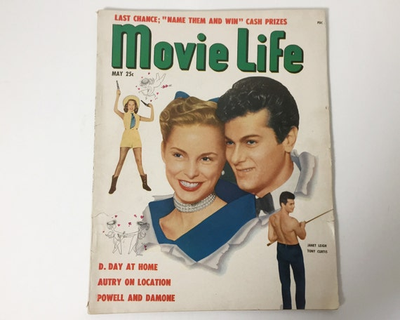 Movie Life Magazine May 1951 - Cover Tony Curtis & Janet Leigh - Vintage Movie Magazine - Inside Elizabeth Taylor and Doris Day