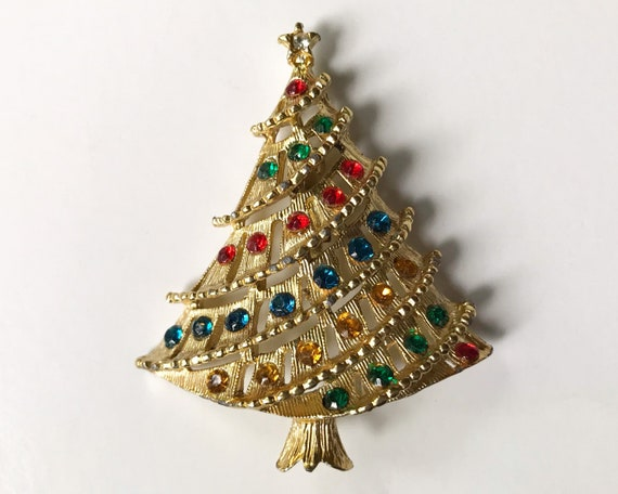 Christmas Tree Brooch, Vintage Costume Jewelry