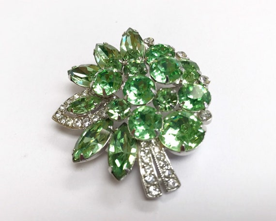 Vintage Signed Eisenberg Jewelry Brooch - Vibrant Pale Green and Diamante Rhinestone Bouquet