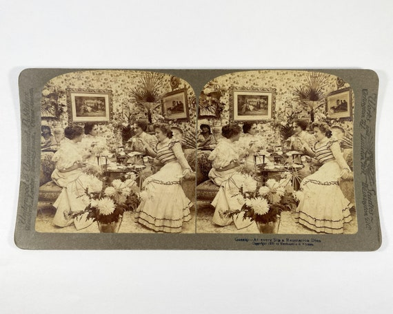"Underwood & Underwood Stereoview - ""Gossip - At Every Sip a Reputation Dies"" Victorian Women Having Tea"