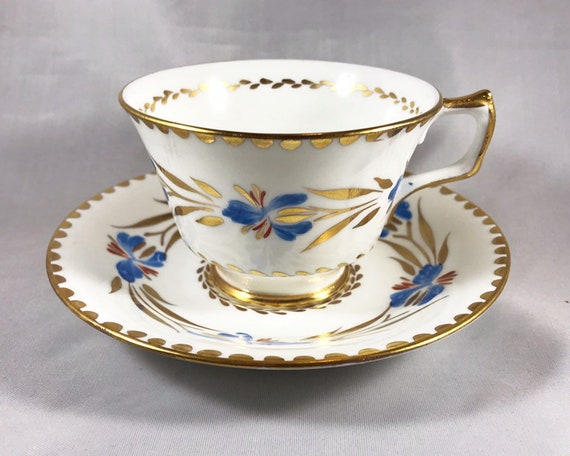 Vintage Hudson & Middleton Fine Bone China Blue Iris Hand Painted Teacup and Saucer - Sutherland China