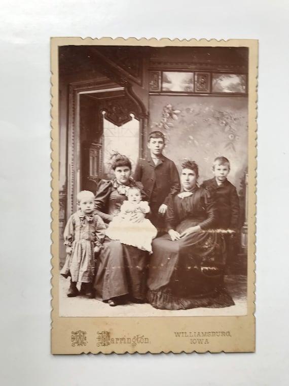 Antique Cabinet Card Family Portrait by W. Warrington, Photographer, Williamsburg, Iowa