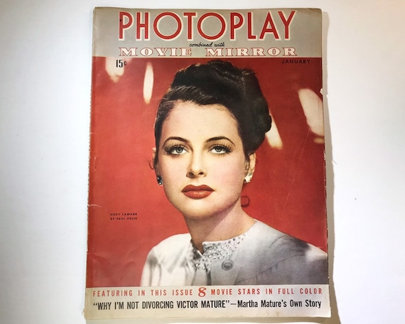 Photoplay January 1943 - Cover Hedy Lamarr by Paul Hesse - Vintage Movie Magazine - Inside Deanna Durbin, Ronald Colman, Dorothy Lamour