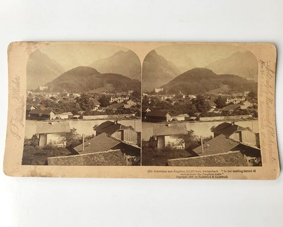 Antique Stereoview of Interlaken and Jungfrau in Switzerland, J. F. Jarvis, Publishers, Copyright 1897