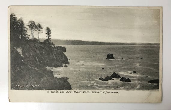 Antique Albertype Postcard - Black and White Scene of Pacific Beach Washington - Printed for Craig's Drug Store, Hoquiam - Undivided Unused