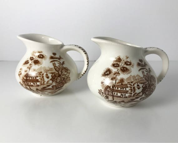 J. H. Weatherby & Sons Royal Crownford Ironstone - Pair of Brown Transferware Mini Creamers